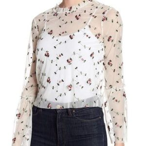 RO & DE Ivory Sheer Flora Top with Bell Sleeves